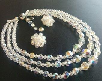 Vintage Set Necklace Earrings Multi Strand Cluster Bead AB Aurora Glass 311
