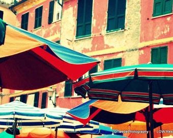 Italy Photography, Cinque Terre, Vernazza, Italian Fine Art, Beach Umbrellas, Italian Riviera, Italian Landscape, Colorful, Beach Décor