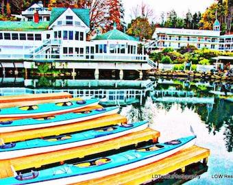 Seascape Photograph, Kayak Photography, Reflection Photo, Coastal Art, Picturesque Harbor, Roche Harbor, Pacific Northwest, Printable Art