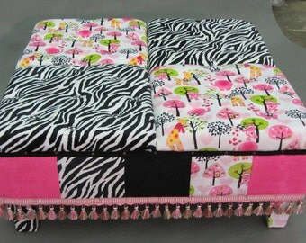 Custom Made Upholstered and ButtonTufted Ottoman in Coordinating Minky Jungle Fabric for Playing or Napping. Shipping Charge included.