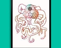 Multicolored One-eyed Design Squid/Octopus Wall Art Print - PDF Instant Download 11x14