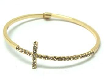 Gold flexible horizontal crystal cross bracelet