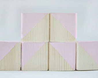 Wooden Blocks, Baby Blocks, Wooden Toys, Decorative Blocks, Nursery Decor, Pastel Pink Blocks, Pink Set Of 6: