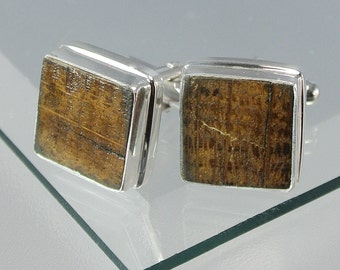 HMS Victory Oak Sterling Silver Cufflinks Square