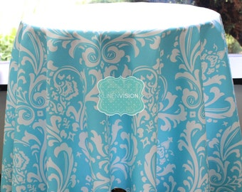 Tablecloth - Premier Prints - OZBORNE Damask  - Girly Blue - Choose Your Size - Table Linen Wedding Home Decor Dining Kitchen