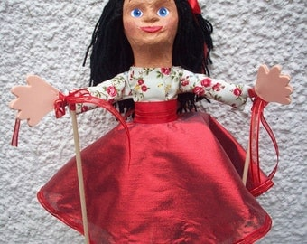 Princess Snow White - Rod Puppet - Hand made with sculptured papier mache head.
