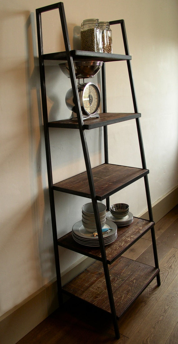 industrial style ladder shelving unit dark distressed. Black Bedroom Furniture Sets. Home Design Ideas