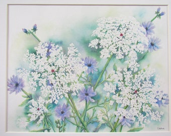 Original watercolor painting of Queen Anne's Lace and Chicory with a neutral white mat, ready to frame and hang.