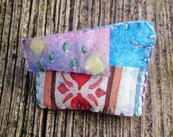 Textile Pillow Brooch Painted Silk Wearable Art