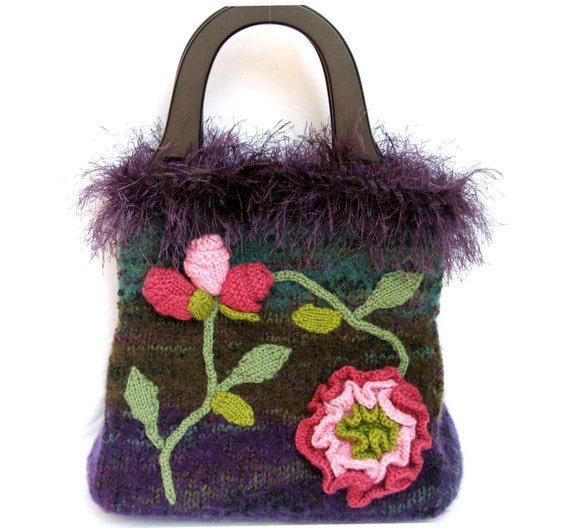 Carpet Bag Knitted Felted Purse of Heathered Violet Purple
