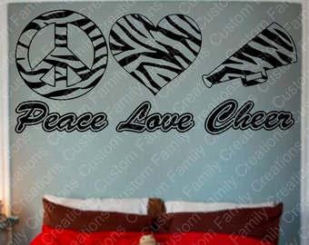 Zebra Print  Peace,Love,Cheer  Wall Decal, Zebra Print Decal, custom wall quote, Removable wall Decal, Vinyl Wall Decor, wall art