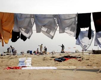 Laundry Varanasi Ganges India Art Photography