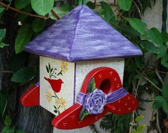 Red Hats Bird Abode - Painted Handmade Wooden Bird House