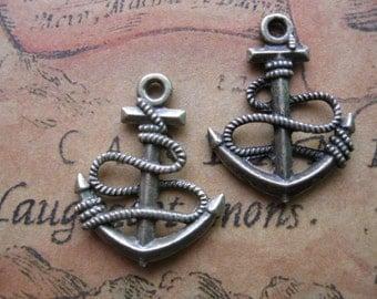 15 pcs 18x24mm Antique Bronze Double sided Ship Anchors Charms Pendant