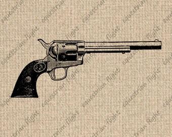 INSTANT DOWNLOAD Antique Gun Image Vintage Gun Images Gun Clipart Gun Graphics Gun Clipart Revolver Image Digital Sheet Download 300dpi