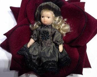 porcelain dolls in big roses hair clip