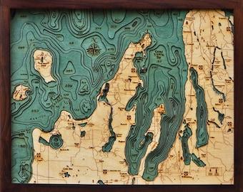 Wood Chart of Grand Traverse Bay / Traverse City, Michigan, 16x20 - Small