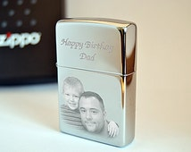 Photo & text engraved Zippo lighter