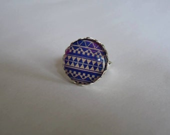 Adjustable ring cabochon 20mm aztec