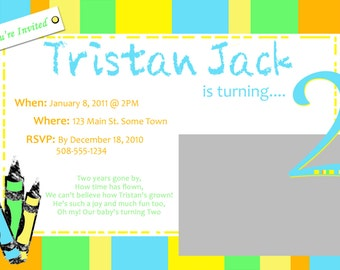 Crayola Birthday Invitation with Photo - PRINTABLE!