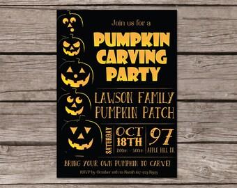 Kids Pumpkin Carving Party Invitation