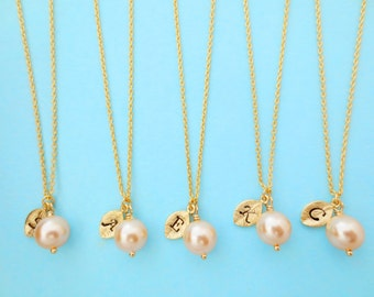 Set of 5, Personalized, Letter, Initial, Peach, Pearl, Bridesmaid, Pearl, Gold, Necklace, Sets, Wedding, Bridesmaid, Bridal, Gift, Jewelry