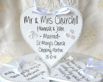 Handpainted wedding keepsake plaque, personalised wedding details, bride and groom gift.
