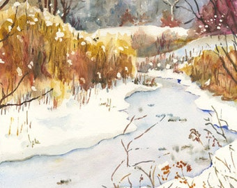 """Set of four (4) """"Park in Winter"""" notecards, 4.25"""" x 5.5"""", with envelopes."""