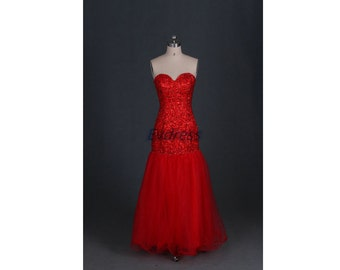 Long red tulle prom dresses 2016 with rhinestones, affordable homecoming dress under 200, stunning women gowns for wedding party.