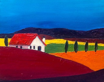 Red House on Bright Landscape