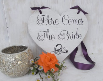 Here Comes the Bride Heart Wedding Sign-Here Comes The Bride Sign-Ring Bearer Sign-Heart Shaped Here Comes the Bride Sign