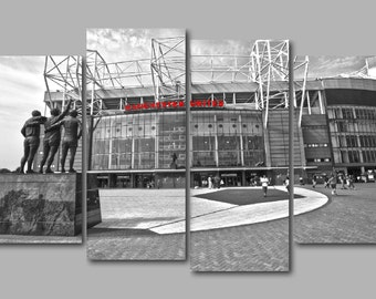 Old Trafford B & W with Manchester United Red lettering 4 Panel Split Canvas Picture Wall Art
