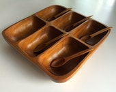 Vintage Hand Carved Monkeypod Condiment Appetizer Tray and Spoons // Mid Century Enertaining