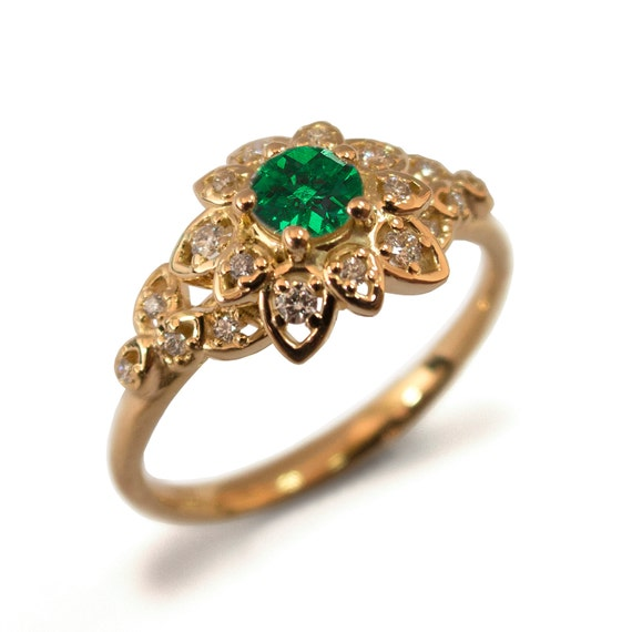 Emerald Art Deco Petal Engagement Ring 14K Rose Gold and