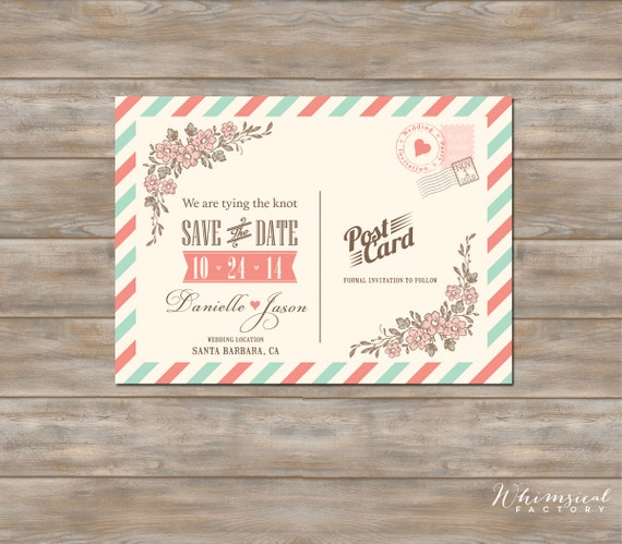 Items Similar To Save The Date Vintage Post Card Air Mail