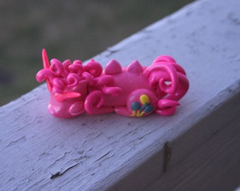 Handmade Polymer Clay Sleeping Dragon Pinkie Pie from My Little Pony: Friendship is Magic