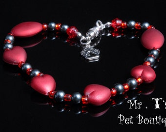 Heart of a Kitty Necklace Collar- red heart cat collar, beaded red cat collar,cat collar,pet accessories,heart cat collar,heart cat necklace