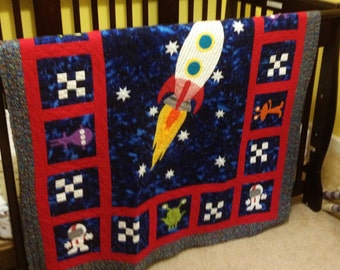 Space nursery etsy for Space quilt pattern