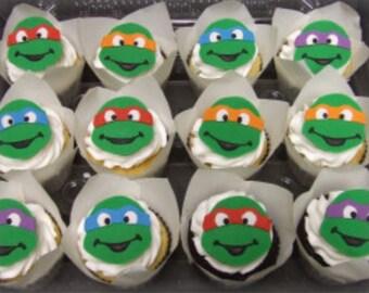 Teenage Mutant Ninja Turtles Fondant Cupcake Toppers (12)