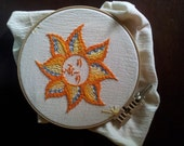 Hand Embroidery Pattern.Sun Art Digital Download. Painting with Thread. Traditional Wall Decor.  7 inch Round