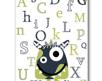 Monster Nursery Alphabet Nursery Print Baby Boy Nursery Decor Digital Art Printable Print Digital Download 8x10 11X14 INSTANT DOWNLOAD green