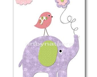 Elephant Nursery Art Baby Nursery Print Baby Girl Nursery Decor Printable Print Digital Download Print 8x10 11X14 INSTANT DOWNLOAD lavender