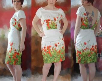 Dress Halter to ground poppy