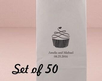 Personalized Kraft Bag - Cupcake Design - Party Favor Bag - Wedding Favor - Lunch Bag - Self Standing Bag - Set of 50 - Colored Paper Bag