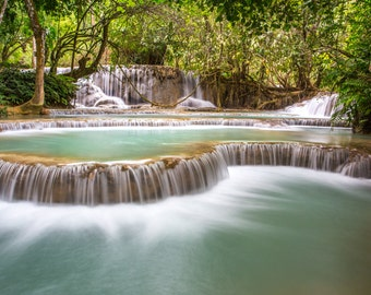 Cascade at Kuang Si Falls, Laos - Fine Art Photograph (Matted)