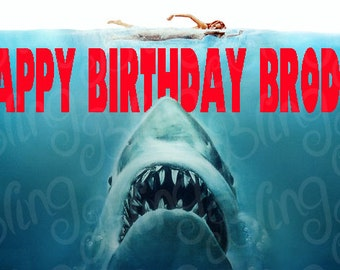 Jaws Edible Icing Quarter OR Half Sheet Cake Decor Topper - JAWS1
