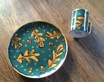 "Thornberry ""Falling Leaves"" plate and mug."