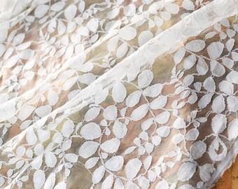 "Lace Fabric White Leaf Bridal Lace Fabric Wedding Fabric Headband Fabric 59"" width 1 yard"