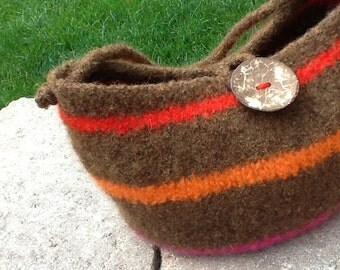 Felted Brown Striped Wool Bag