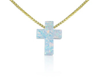 "white cross opal necklace 100% Real sterling silver fancy box chain available in length from 12"" to 22"" safe to get wet,  BEST ONLINE PRICE"